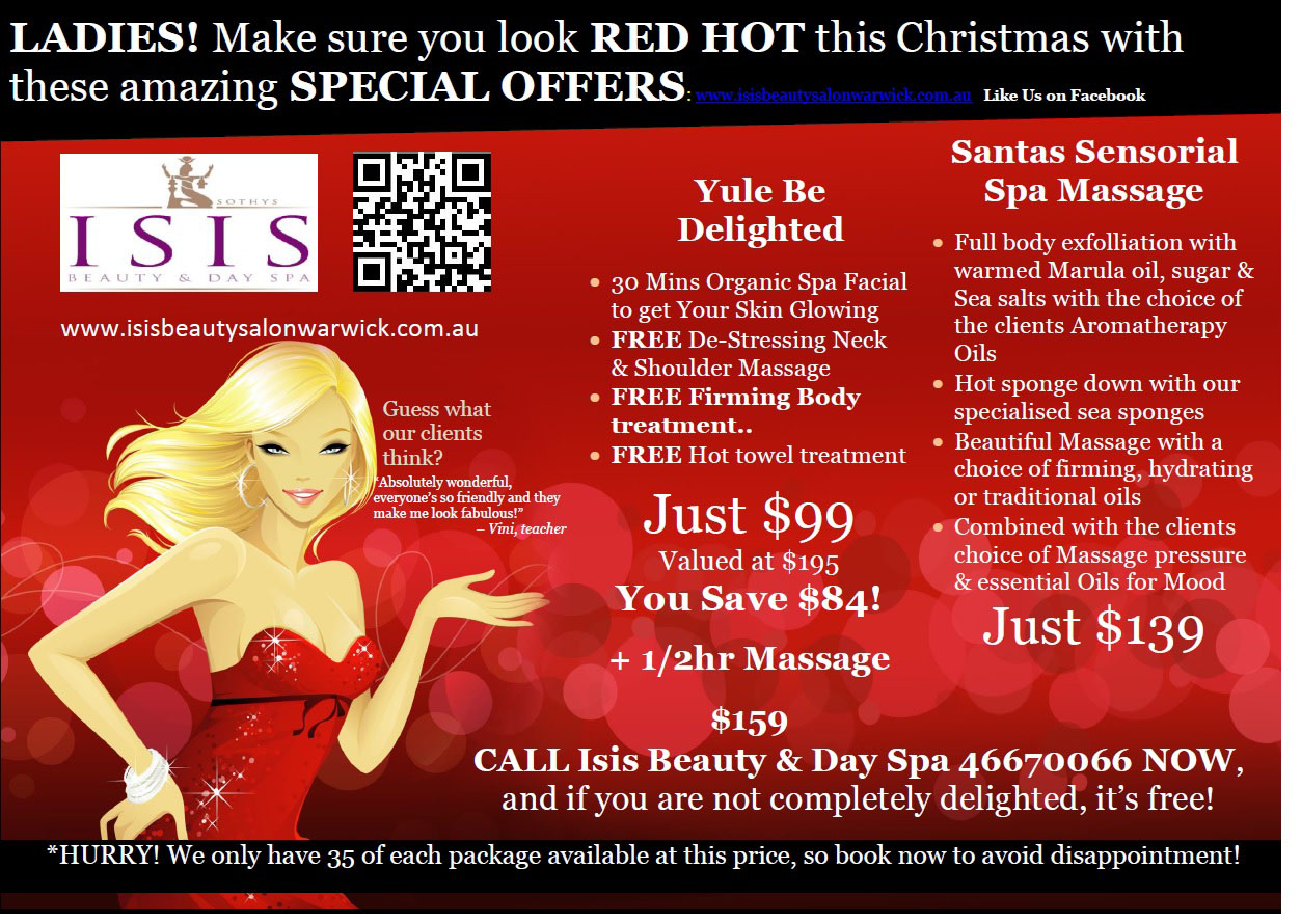Salons specials isis beauty and day spa for Beauty salon xmas offers