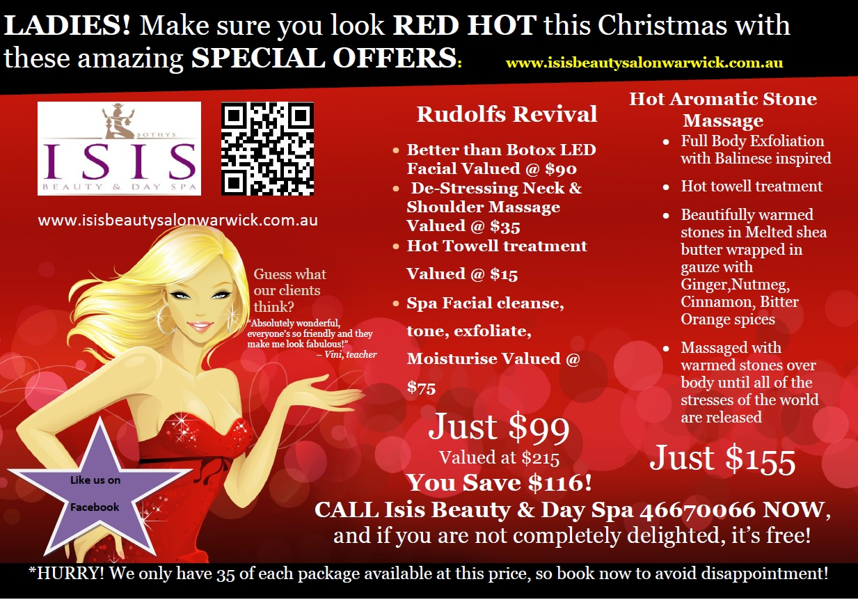 Christmas Spa Packages.Salons Specials Isis Beauty And Day Spa